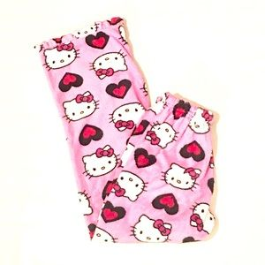 SOLD Hello Kitty Fluffy Pink Red Heart Pajama Pant